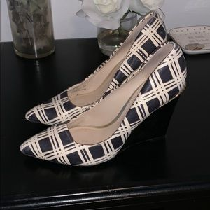 Coach Orchard Plaid Print Wedges